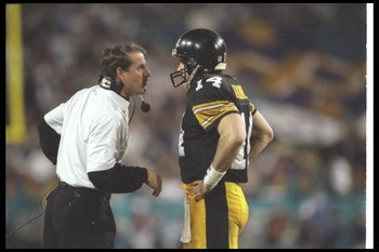 28 Jan 1996:  Pittsburgh Steelers head coach Bill Cowher confers with quarterback Neil O'Donnell during Super Bowl XXX against the Dallas Cowboys at Sun Devil Stadium in Tempe, Arizona.  The Cowboys won the game, 27-17. Mandatory Credit: Mike Powell  /All