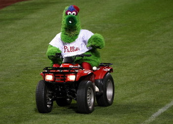 PHILADELPHIA - OCTOBER 29:  The Philly Phanatic, mascot of the Philadelphia Phillies rides around the field on a 4 wheel atv against the Tampa Bay Rays during the continuation of game five of the 2008 MLB World Series on October 29, 2008 at Citizens Bank