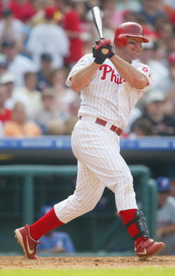 PHILADELPHIA - APRIL 18:  Jim Thome #25 of the  Philadelphia Phillies bats during the game against the Montreal Expos at Citizens Bank Park on April 18, 2004 in Philadelphia, Pennsylvania.  The Phillies defeated the Expos 5-4. (Photo by Jamie Squire/Getty