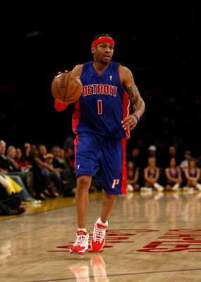 LOS ANGELES, CA - NOVEMBER 14:  Allen Iverson #1 of the Detroit Pistons dribbles the ball during the game with the Los Angeles Lakers on November 14, 2008 at Staples Center in Los Angeles, California. The Pistons won 106-95.   NOTE TO USER: User expressly