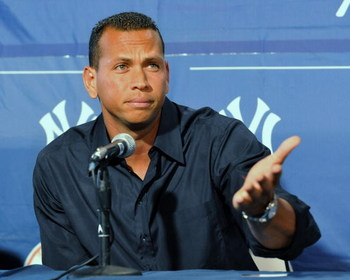 TAMPA - FEBRUARY 17:  Infielder Alex Rodriguez of the New York Yankees pauses during a press conference about his performance enhancing drug use February 17, 2008 at the George Steinbrenner complex in Tampa,   (Photo by Al Messerschmidt/Getty Images)