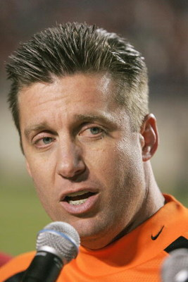SHREVEPORT, LA - DECEMBER 28: Head coach Mike Gundy of Oklahoma State talks to the crowd after winning the PetroSun Independence Bow against Alabama on December 28, 2006 at Independence Stadium in Shreveport, Louisiana. (Photo by Chris Graythen/Getty Imag