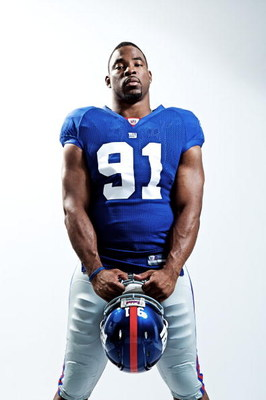 NEW YORK - MARCH 11:  (EDITORS NOTE: IMAGES HAVE BEEN RETOUCHED)  Justin Tuck of the New York Giants poses for a portrait on March 11, 2009 in New York City, New York.  (Photo by Nick Laham/Getty Images)
