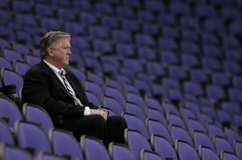 LONDON - SEPTEMBER 28:  Brian Burke, executive vice president and general manager of the Anaheim Ducks watches a practice session for the Los Angeles Kings and the Anaheim Ducks ice hockey teams at the O2 Arena on September 28, 2007 in Greenwich, London,
