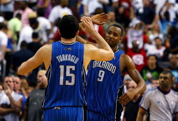 PHILADELPHIA - APRIL 26:  Hedo Turkoglu #15 and Rashard Lewis #9 of the Orlando Magic celebrate after defeating the Philadelphia 76ers during Game Four of the Eastern Conference Quarterfinals during the 2009 NBA Playoffs at the Wachovia Center on April 26
