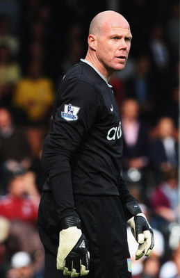 LONDON, ENGLAND- MAY 09: Aston Villa goalkeeper Brad Friedel looks on during the Barclays Premier League match between Fulham and Aston Villa at Craven Cottage on May 9, 2009 in London, England. (Photo by Bryn Lennon/Getty Images)