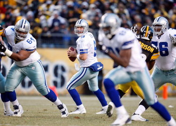 PITTSBURGH - DECEMBER 7:  Quarterback Tony Romo #9 of the Dallas Cowboys drops back in the pocket to make a pass play during their NFL game against the Pittsburgh Steelers on December 7, 2008 at Heinz Field in Pittsburgh, Pennsylvania. The Steelers defeat
