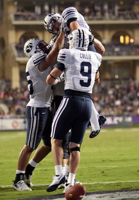 FORT WORTH, TX - OCTOBER 16:  Quarterback Max Hall #15 of the BYU Cougars celebrates a touchdown against the TCU Horned Frogs in the third quarter at Amon G. Carter Stadium on October 16, 2008 in Fort Worth, Texas.  (Photo by Ronald Martinez/Getty Images)
