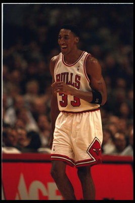 15 Nov 1995:  Forward Scottie Pippen #33 of the Chicago Bulls laughs on the court at the United Center in Chicago, Illinois during the game against the Cleveland Cavaliers.  The Bulls defeated the Cavaliers 113-94.  Mandatory Credit:  Jonathan Daniel/Alls
