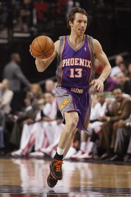 PORTLAND, OR - MARCH 04:  Steve Nash #13 of the Phoenix Suns drives the ball up court during the game against the Portland Trail Blazers on March 4, 2008 at the Rose Garden in Portland, Oregon.  The Suns won 97-92.  NOTE TO USER: User expressly acknowledg