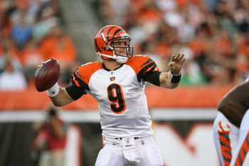 CINCINNATI - AUGUST 17:  Carson Palmer #9 of the Cincinnati Bengals passes the ball during the NFL game against the Detroit Lions at Paul Brown Stadium on August 17, 2008 in Cincinnati, Ohio.  (Photo by Andy Lyons/Getty Images)