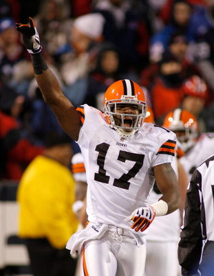 ORCHARD PARK, NY - NOVEMBER 17: Braylon Edwards #17 of the Cleveland Browns celebrates a 72-yard touchdown run by teammateJerome Harrison (not shown) against the Buffalo Bills on November 17, 2008 at Ralph Wilson Stadium in Orchard Park, New York. The Bro