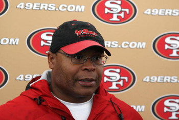 SANTA CLARA, CA - MAY 01:  Head coach Mike Singletary of the San Francisco 49ers talks with the media during the 49ers Minicamp at their training facilities on May 1, 2009 in Santa Clara, California.  (Photo by Jed Jacobsohn/Getty Images)
