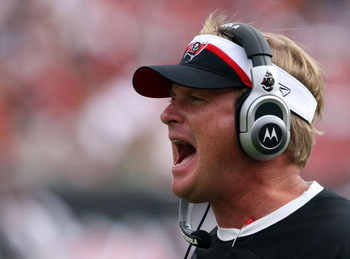 TAMPA, FL - DECEMBER 30:  John Gruden, head coach of the Tampa Bay Buccaneers on the sideline in the first half of their game against the Carolina Panthers at Raymond James Stadium on December 30, 2007 in Tampa, Florida.  (Photo by Scott Halleran/Getty Im