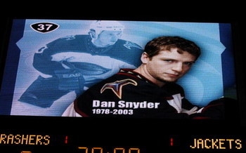 ATLANTA - OCTOBER 9:  The scoreboard memorializes the untimely passing of center Dan Snyder #37 of the Atlanta Thrashers during a ceremony, before the game against the Columbus Blue Jackets at Philips Arena on October 9, 2003 in Atlanta, Georgia.  The Thr