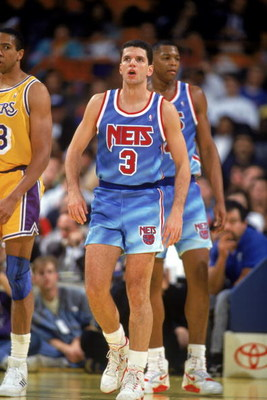 INGLEWOOD, CA - 1990-91:  Drazen Petrovic #3 of the New Jersey Nets stands on the court during a 1990-91 season game against the Los Angeles Lakers at the Great Western Forum in Inglewood, California. NOTE TO USER: User expressly acknowledges and agress t