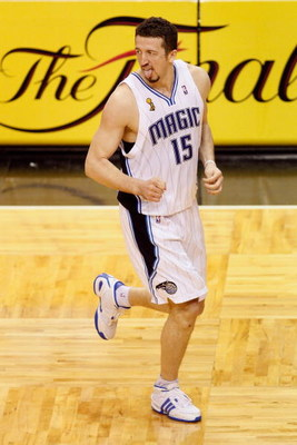 ORLANDO, FL - JUNE 11:  Hedo Turkoglu #15 of the Orlando Magic reacts to hitting a shot late in the fourth quarter in Game Four of the 2009 NBA Finals against the Los Angeles Lakers on June 11, 2009 at Amway Arena in Orlando, Florida.  The Lakers won 99-9