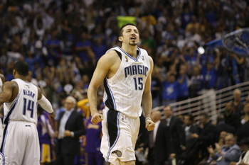 ORLANDO, FL - JUNE 11:  Hedo Turkoglu #15 of the Orlando Magic heads toward the sideline during Game Four of the 2009 NBA Finals against the Los Angeles Lakers on June 11, 2009 at Amway Arena in Orlando, Florida. The Lakers won in overtime 99-91. NOTE TO