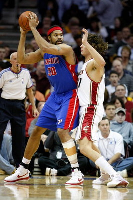 CLEVELAND - APRIL 21:  Rasheed Wallace #30 of the Detroit Pistons goes up against Anderson Varejao #17 of the Cleveland Cavaliers in Game Two of the Eastern Conference Quarterfinals during the 2009 NBA Playoffs at Quicken Loans Arena on April 21, 2009 in