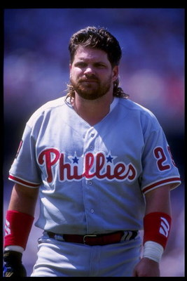 3 Jul 1994: Infielder John Kruk of the Philadelphia Phillies stands on the field during a game against the Los Angeles Dodgers at Dodger Stadium in Los Angeles, California.
