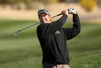 SCOTTSDALE, AZ - JANUARY 29:  Paul Azninger hits his second shot on the fifth hole during the first round of the FBR Open on January 29, 2009 at TPC Scottsdale in Scottsdale, Arizona.  (Photo by Stephen Dunn/Getty Images)
