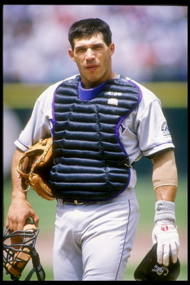 11 May 1994:  Catcher Joe Girardi of the Colorado Rockies stands on the field during a game against the San Francisco Giants at Candlestick Park in San Francisco, California.  Mandatory Credit: Otto Greule  /Allsport