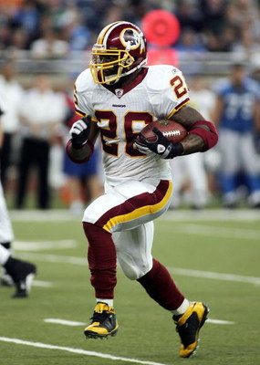 DETROIT - OCTOBER 26:  Clinton Portis #26 of the Washington Redskins carries the ball during the game against the Detroit Lions on October 26, 2008 at Ford Field in Detroit, Michigan.  (Photo by Domenic Centofanti/Getty Images)