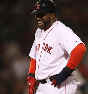 BOSTON - JUNE 11: David Ortiz #34 of the Boston Red Sox smiles after he walked against the New York Yankees at Fenway Park on June 11, 2009 in Boston, Massachusetts.  (Photo by Jim Rogash/Getty Images)