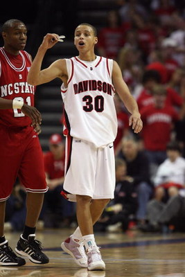 CHARLOTTE, NC - DECEMBER 6:  Stephen Curry #30 of the Davidson Wildcats walks upcourt during the game against the North Carolina State Wolfpack at Time Warner Cable Arena on December 6, 2008 in Charlotte, North Carolina. (Photo by Streeter Lecka/Getty Ima