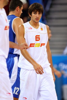 BEIJING - AUGUST 10:  Ricky Rubio #6 of Spain looks on while taking on Greece during the day 2 preliminary game at the Beijing 2008 Olympic Games in the Beijing Olympic Basketball Gymnasium on August 10, 2008 in Beijing, China.  (Photo by Phil Walter/Gett