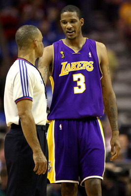 ORLANDO, FL - JUNE 14:  Trevor Ariza #3 of the Los Angeles Lakers talks to referee Dan Crawford in the second half against the Orlando Magic in Game Five of the 2009 NBA Finals on June 14, 2009 at Amway Arena in Orlando, Florida.  NOTE TO USER:  User expr