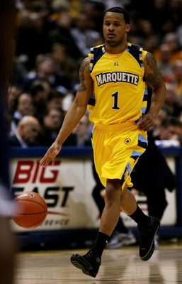 MILWAUKEE - JANUARY 31: Dominic James #1 of the Marquette Golden Eagles brings the ball upcourt against the Georgetown Hoyas on January 31, 2009 at the Bradley Center in Milwaukee, Wisconsin. Marquette defeated Georgetown 94-82. (Photo by Jonathan Daniel/
