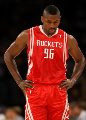 LOS ANGELES, CA - MAY 17:  Ron Artest #96 of the Houston Rockets looks down in the first quarter against the Los Angeles Lakers in Game Seven of the Western Conference Semifinals during the 2009 NBA Playoffs at Staples Center on May 17, 2009 in Los Angele