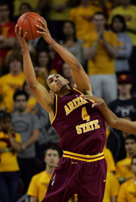 LOS ANGELES, CA - JANUARY 15:  Jeff Pendergraph #4 of Arizona State pulls down a rebound against USC in the first half during the game at Galen Center on January 15, 2009 in Los Angeles, California.  The Trojans defeated the Sun Devils 61-49. (Photo by Vi