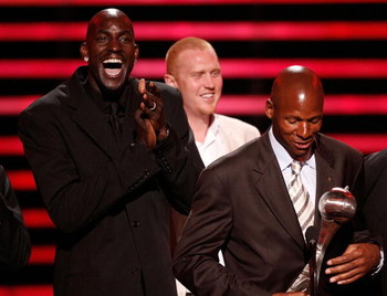 LOS ANGELES, CA - JULY 16:  NBA athlete, Kevin Garnett and Ray Allen of the Boston Celtics accept the award for 'Best Team' onstage at the 2008 ESPY Awards held at NOKIA Theatre L.A. LIVE on July 16, 2008 in Los Angeles, California.  The 2008 ESPYs will a