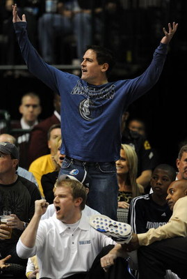 DALLAS - NOVEMBER 03:  Owner Mark Cuban of the Dallas Mavericks reacts during a game against the Cleveland Cavaliers on November 3, 2008 at American Airlines Center in Dallas, Texas.  NOTE TO USER: User expressly acknowledges and agrees that, by downloadi