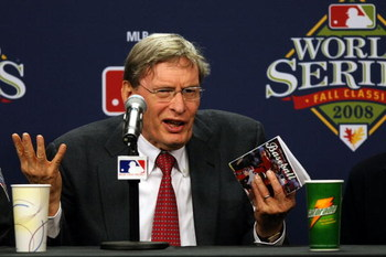 PHILADELPHIA - OCTOBER 27:  Major League Baseball commissioner Bud Selig explains the rules involved with suspending game five of the 2008 MLB World Series between the Philadelphia Phillies and the Tampa Bay Rays till 8:00 pm (EST) on October 28 at the ea