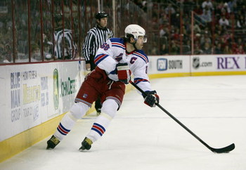 RALEIGH, NC - FEBRUARY 28:  Jaromir Jagr #68 of the New York Rangers carries the puck along the right wing against the Carolina Hurricanes during their NHL game at RBC Center on February 28, 2008 in Raleigh, North Carolina. The Rangers defeated the Hurric