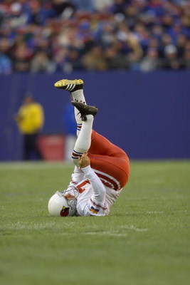 15 Dec 2001 : Bill Gramatica of the Arizona Cardinals injures himself while celebrating a field goal against the New York Giants during the game at the Meadowlands in East Rutherford, New Jersey. The Giants won 17-13. DIGITAL IMAGE. Mandatory Credit : Jam