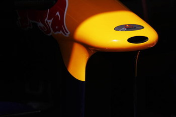 MONTE CARLO, MONACO - MAY 23:  Detail of the Red Bull Racing nose cone is seen in their team garage during the final practice session prior to qualifying for the Monaco Formula One Grand Prix at the Monte Carlo Circuit on May 23, 2009 in Monte Carlo, Mona