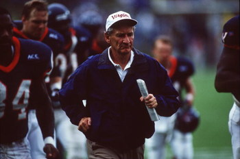 14 Oct 1995:  Head Coach George Welch of Virginia University runs along the side line during the Cavaliers 44-30 win over Duke University at Klockner Stadium in Virginia. Mandatory Credit: Doug Pensinger/ALLSPORT
