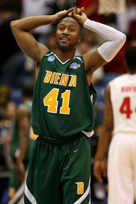 DAYTON, OH - MARCH 20: Kenny Hasbrouck #41 of the Siena Saints looks on between plays against the Ohio State Buckeyes during the first round of the NCAA Division I Men's Basketball Tournament at the University of Dayton Arena on March 20, 2009 in Dayton,