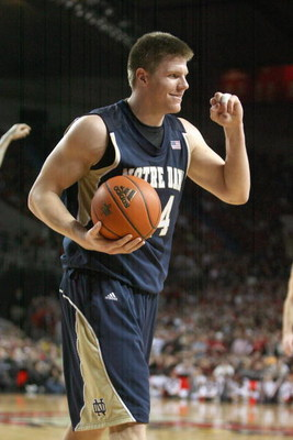 LOUISVILLE, KY - JANUARY 12:  Luke Harangody #44 of the Notre Dame Fighting Irish reacts during the Big East Conference game against the Louisville Cardinals on January 12, 2009 at Freedom Hall in Louisville, Kentucky.  (Photo by Andy Lyons/Getty Images)