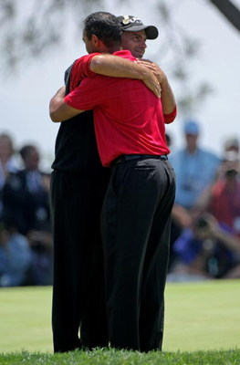 SAN DIEGO - JUNE 16:  Tiger Woods (R) is hugged by Rocco Mediate after Woods defeated Mediate on the seventh hole during a sudden death finish in the playoff round of the 108th U.S. Open at the Torrey Pines Golf Course (South Course) on June 16, 2008 in S
