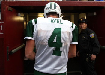 SAN FRANCISCO - DECEMBER 07:  Brett Favre #4 of the New York Jets  leaves the field after his game against the San Francisco 49ers during an NFL game on December 7, 2008 at Candlestick Park in San Francisco, California.  (Photo by Jed Jacobsohn/Getty Imag