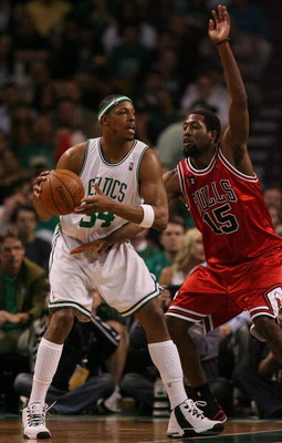 BOSTON - MAY 02:  Paul Pierce #34 of the Boston Celtics looks to pass as John Salmons #15 of the Chicago Bulls defends in Game Seven of the Eastern Conference Quarterfinals during the 2009 NBA Playoffs at TD Banknorth Garden on May 2, 2009 in Boston, Mass