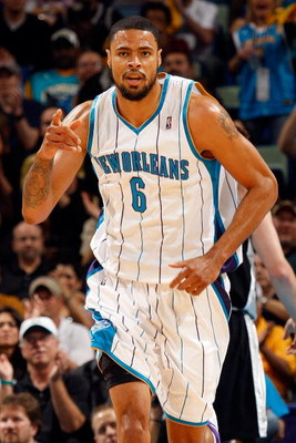 NEW ORLEANS - DECEMBER 17: Tyson Chandler #6 of the New Orleans Hornets celebrates during the game against the San Antonio Spurs on December 17, 2008 at the New Orleans Arena in New Orleans, Louisiana. NOTE TO USER: User expressly acknowledges and agrees