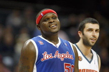CHARLOTTE, NC - FEBRUARY 9:  Zach Randolph #50 of the Los Angeles Clippers smiles during the game against the Charlotte Bobcats at Time Warner Cable Arena on February 9, 2009 in Charlotte, North Carolina. NOTE TO USER: User expressly acknowledges and agre
