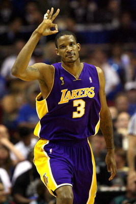 ORLANDO, FL - JUNE 14:  Trevor Airza #3 of the Los Angeles Lakers celebrates a three-point shot in the first half against the Orlando Magic in Game Five of the 2009 NBA Finals on June 14, 2009 at Amway Arena in Orlando, Florida.  NOTE TO USER:  User expre