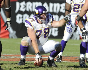 TAMPA, FL - NOVEMBER 16: Center Matt Birk #78 of the Minnesota Vikings sets for play against the Tampa Bay Buccaneers at Raymond James Stadium on November 16, 2008 in Tampa, Florida.  (Photo by Al Messerschmidt/Getty Images)